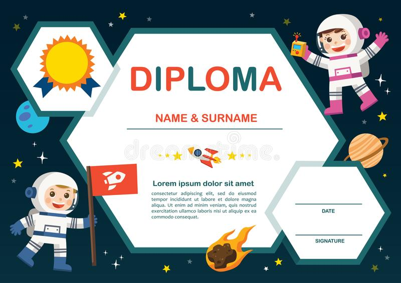 Concetto della scuola materna di istruzione Il certificato scherza il diploma, illustrazione vettoriale