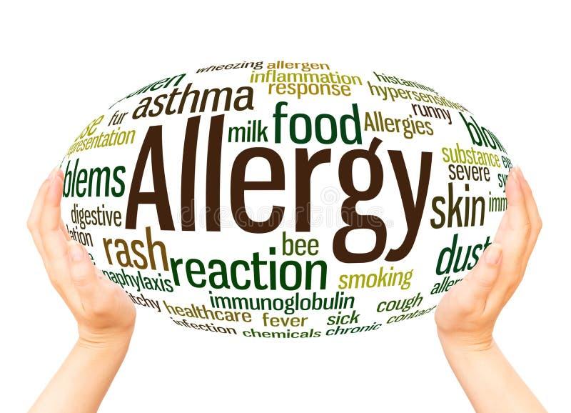 Concetto della sfera della mano della nuvola di parola di allergia fotografia stock