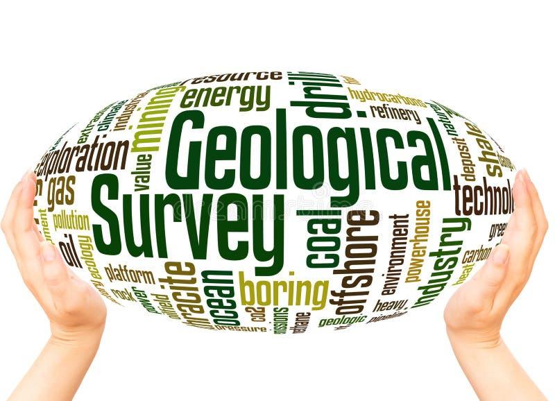 Concetto della sfera della mano della nuvola di parola dello studio geologico immagine stock