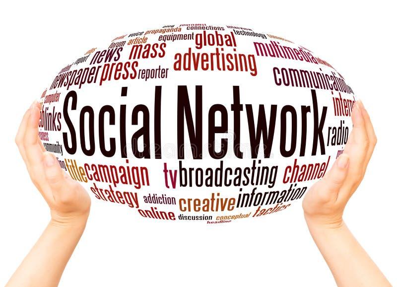 Concetto della sfera della mano della nuvola di parola della rete sociale royalty illustrazione gratis