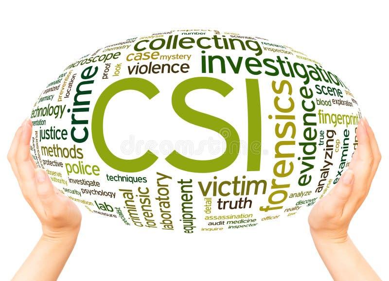 Concetto della sfera della mano della nuvola di parola di ricerca della scena del crimine di CSI illustrazione vettoriale