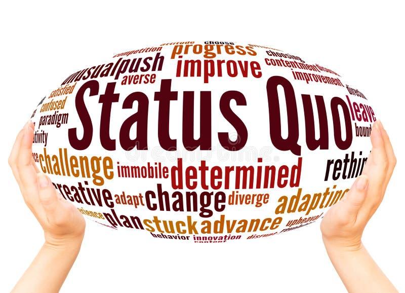Concetto della sfera della mano della nuvola di parola di status quo illustrazione vettoriale