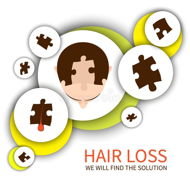 Concetto della soluzione di perdita di capelli illustrazione di stock