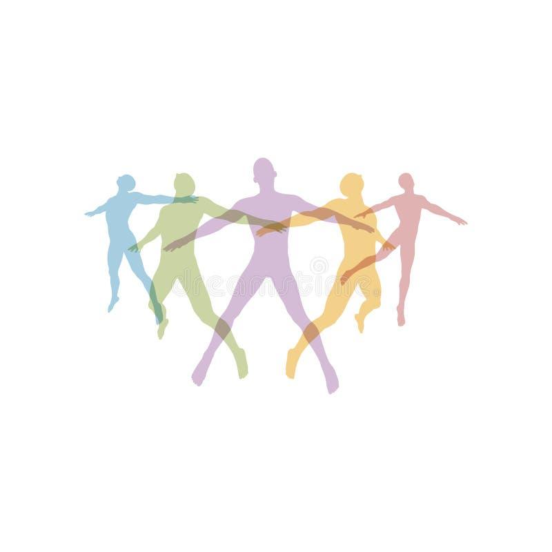 Concetto della squadra La folla dell'icona della gente profila il vettore Collegamento della gente illustrazione di stock