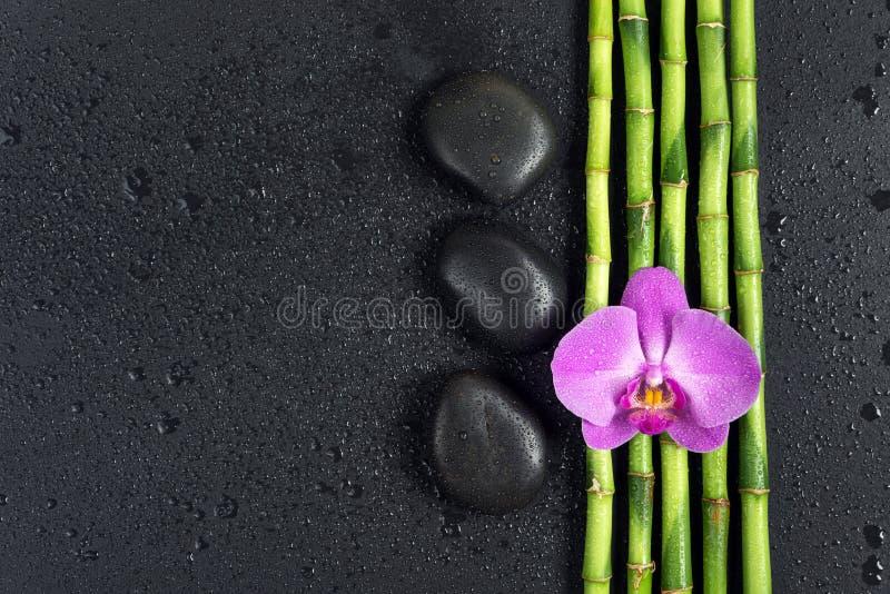 Concetto della stazione termale con le pietre di zen, il fiore dell'orchidea ed il bambù fotografia stock