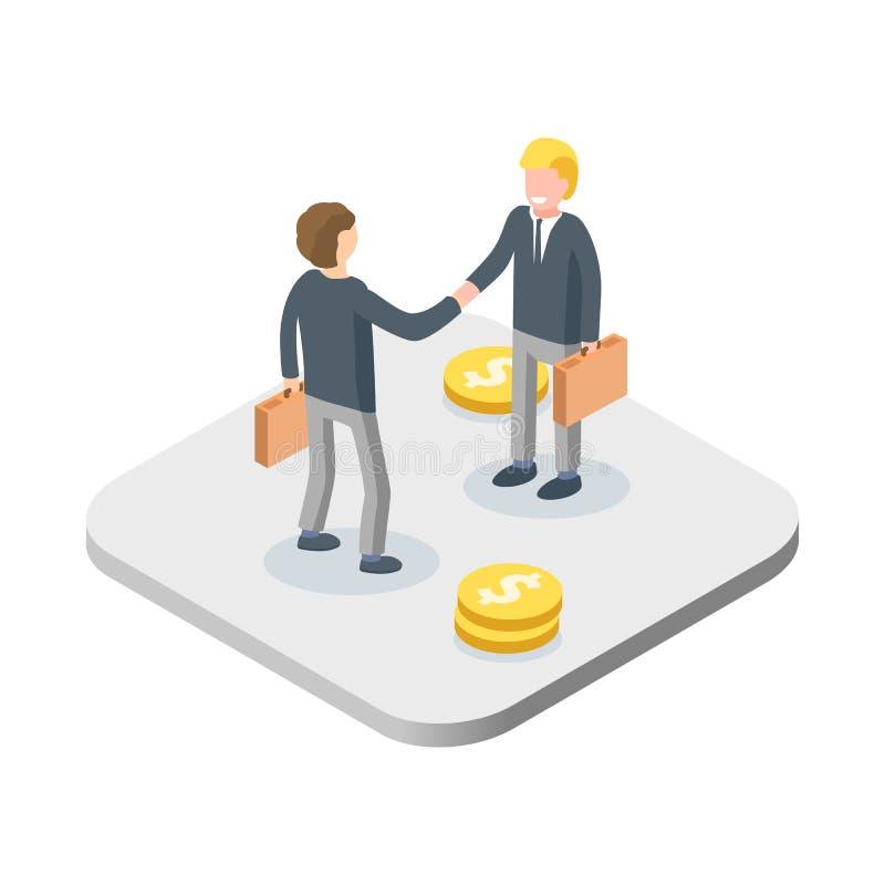 Concetto della stretta di mano di affari Due uomini d'affari isometrici accolgono o confermano un affare, stretta di mano illustrazione vettoriale