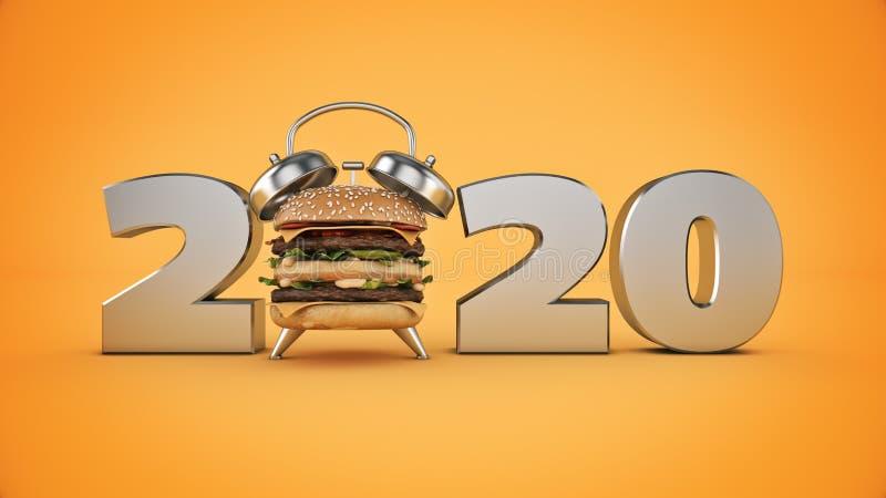 Concetto della sveglia dell'hamburger un segno da 2020 nuovi anni illustrazione di stock