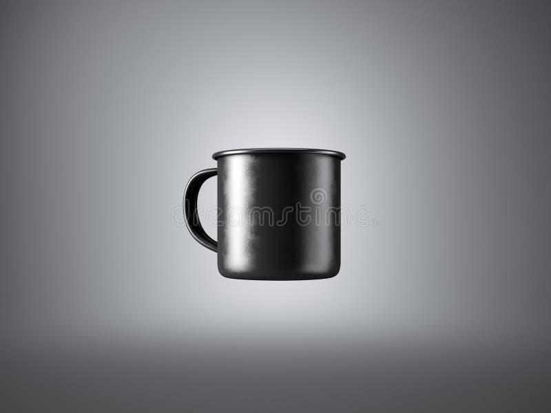 Concetto della tazza di caffè nera del metallo sul gray fotografie stock