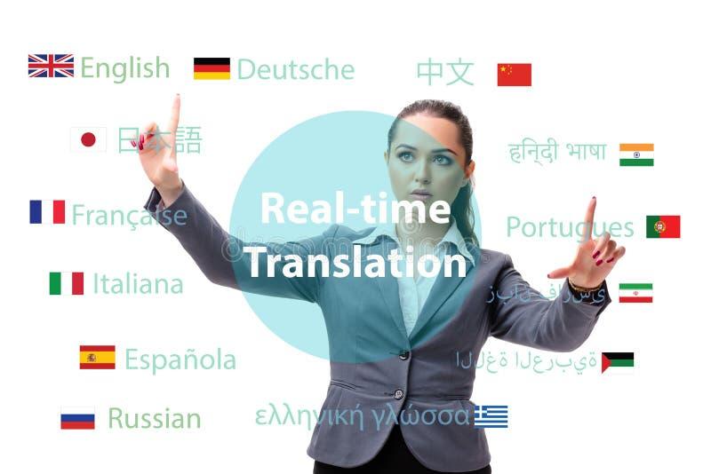 Concetto della traduzione online dalla lingua straniera fotografie stock libere da diritti