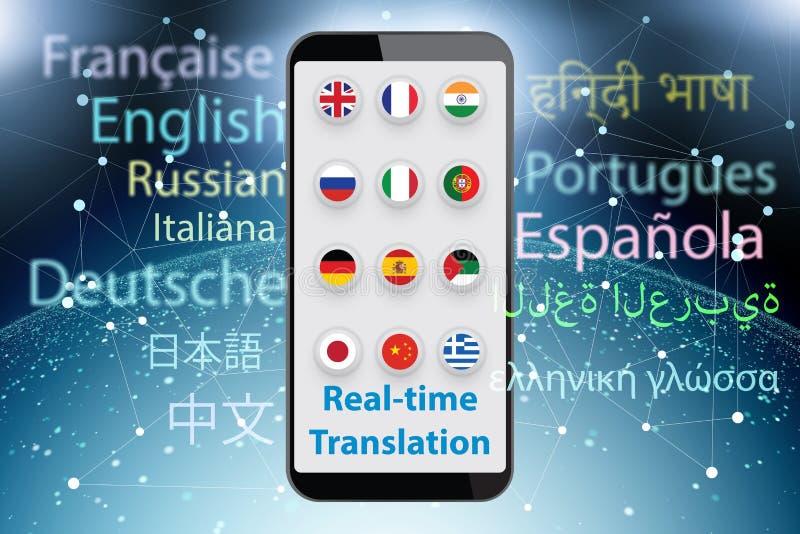 Concetto della traduzione in tempo reale con il app dello smartphone - 3d rendono illustrazione di stock