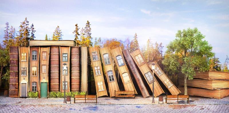 concetto delle biblioteche Letteratura di fantasia Pila di vecchi libri come via della città illustrazione vettoriale