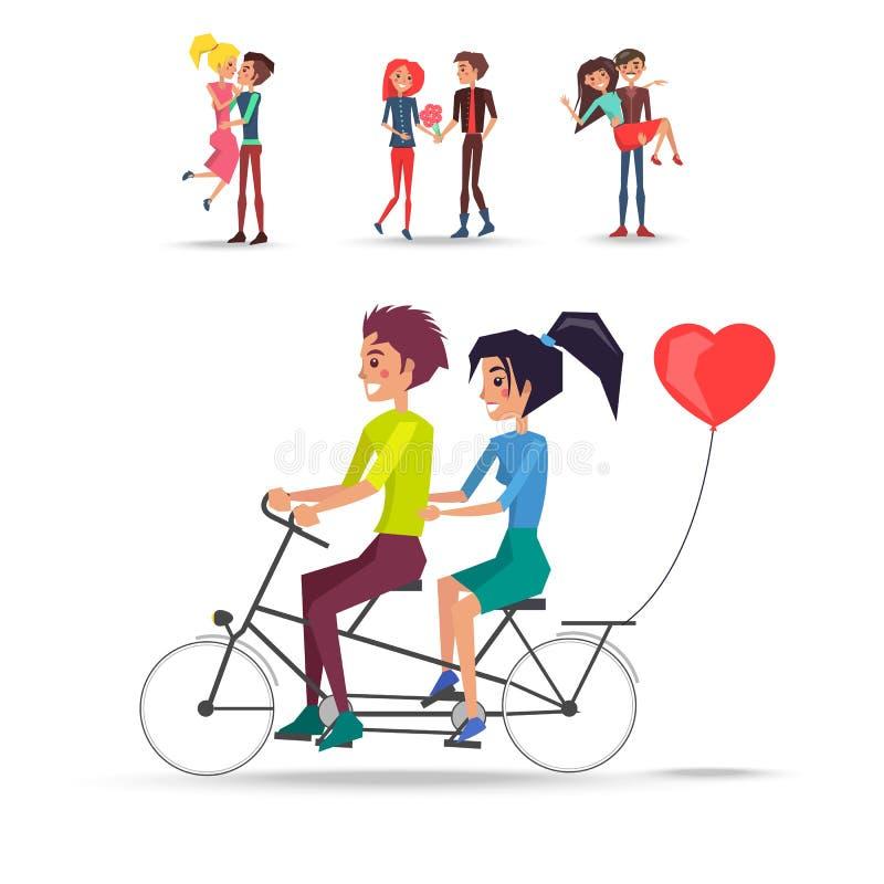 Concetto delle coppie in bicicletta di giro di amore su bianco illustrazione di stock