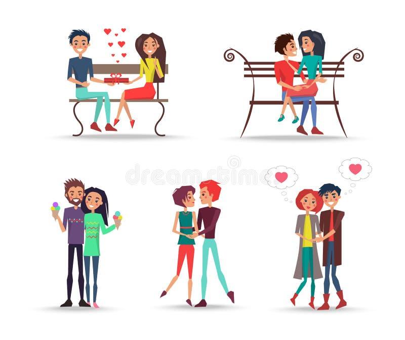 Concetto delle coppie nell'amore su fondo bianco illustrazione di stock