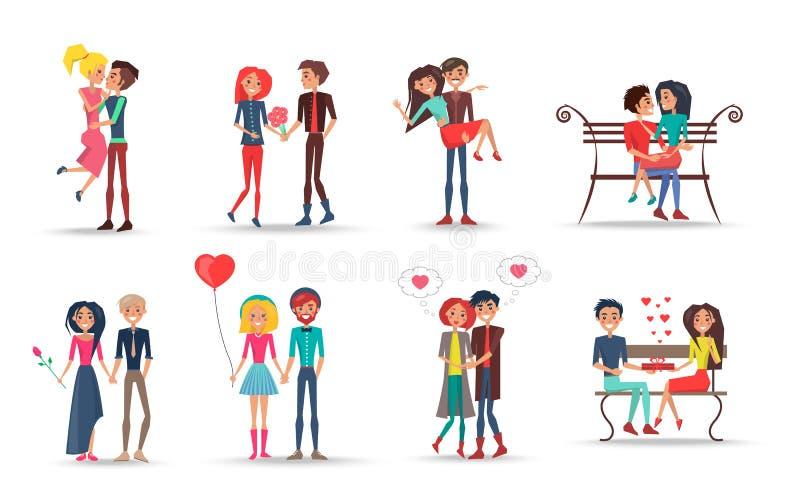 Concetto delle coppie nell'amore su fondo bianco royalty illustrazione gratis