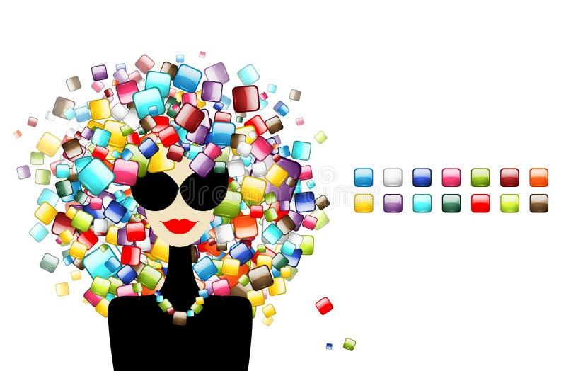 Concetto delle icone dell'interfaccia, donna di modo illustrazione di stock