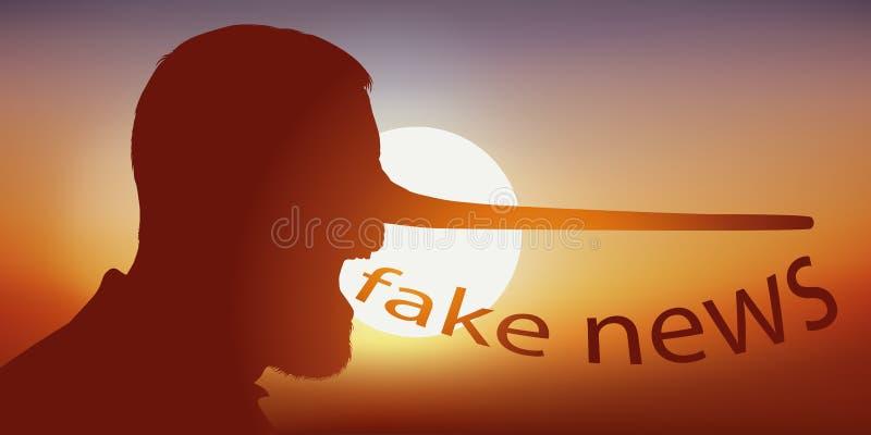 Concetto delle notizie false con il naso di Pinocchio che simbolizza la bugia illustrazione di stock