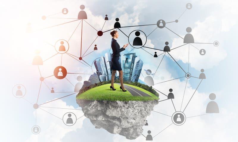 Concetto delle tecnologie wireless moderne come efficace strumento per l'affare della rete illustrazione vettoriale
