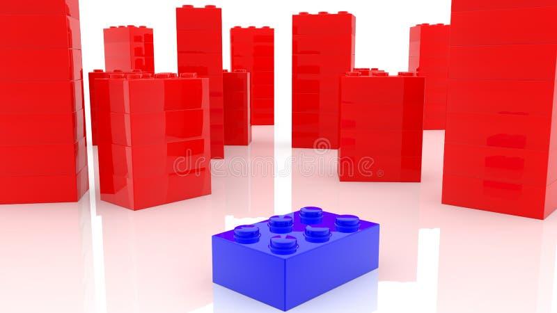 Concetto delle torri dei mattoni del giocattolo in rosso ed in blu illustrazione vettoriale