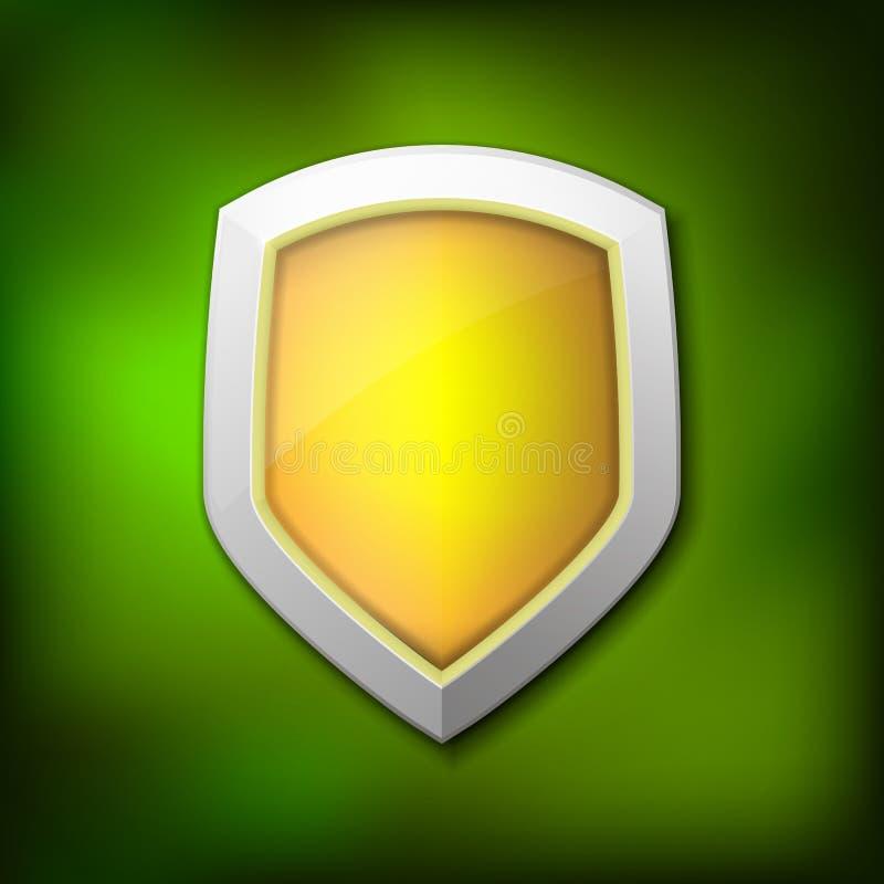Concetto dello schermo di protezione con l'insegna Simbolo di protezione e di affidabilità Illustrazione di vettore royalty illustrazione gratis