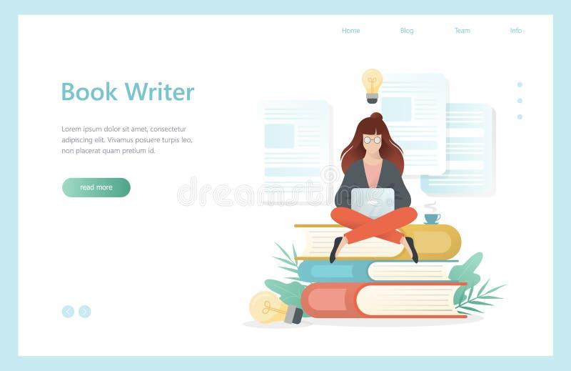 Concetto dello scrittore del libro Donna che si siede con il computer portatile illustrazione di stock
