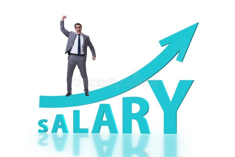 Concetto dello stipendio aumentante con l'uomo d'affari immagini stock libere da diritti