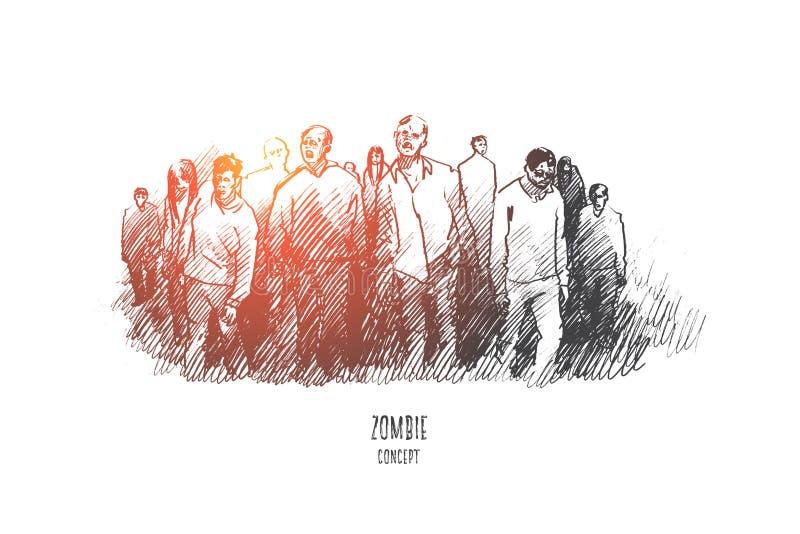 Concetto dello zombie Vettore isolato disegnato a mano illustrazione vettoriale