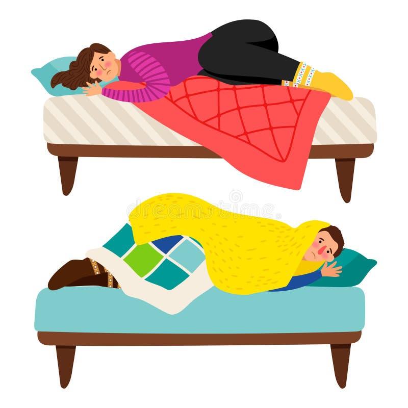 Concetto depresso di vettore di depressione dell'uomo e della donna a letto - illustrazione di stock