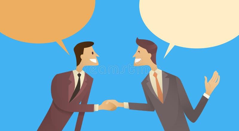 Concetto di accordo di comunicazione della bolla della scatola di chiacchierata di Hand Shake Talking di due uomini d'affari, str illustrazione vettoriale