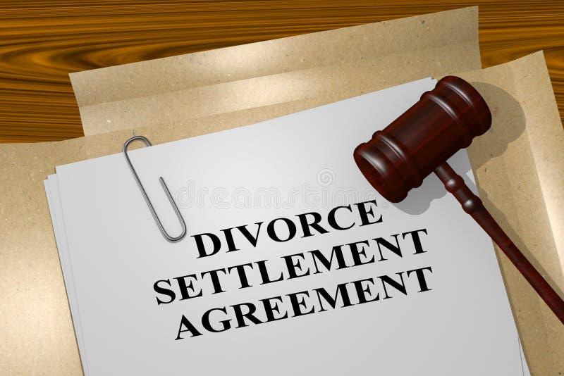 Concetto di accordo di stabilimento di divorzio illustrazione vettoriale
