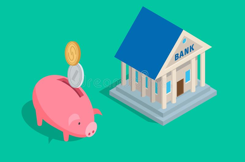Concetto di accumulazione dei soldi con la Banca e la Banca illustrazione di stock