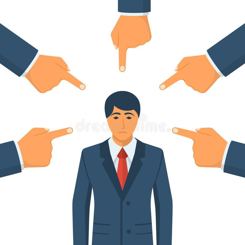 concetto di accusa Uomo d'affari triste illustrazione vettoriale