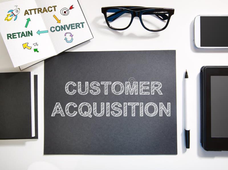 Concetto di acquisizione del cliente con la stazione di lavoro in bianco e nero illustrazione di stock