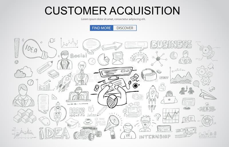 Concetto di acquisizione del cliente con stile di progettazione di scarabocchio di affari: illustrazione di stock