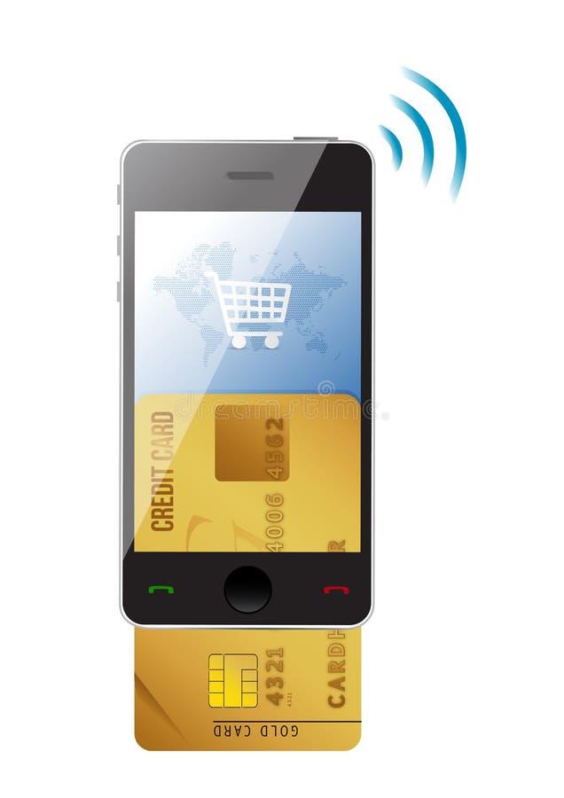 Concetto di acquisto. Carta di credito e cellulare moderno illustrazione vettoriale