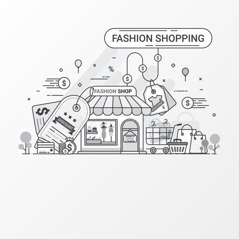 Concetto di acquisto di modo Questo insieme contiene gli elementi dell'icona, il deposito di modo, l'etichetta di sconto, il Male illustrazione di stock