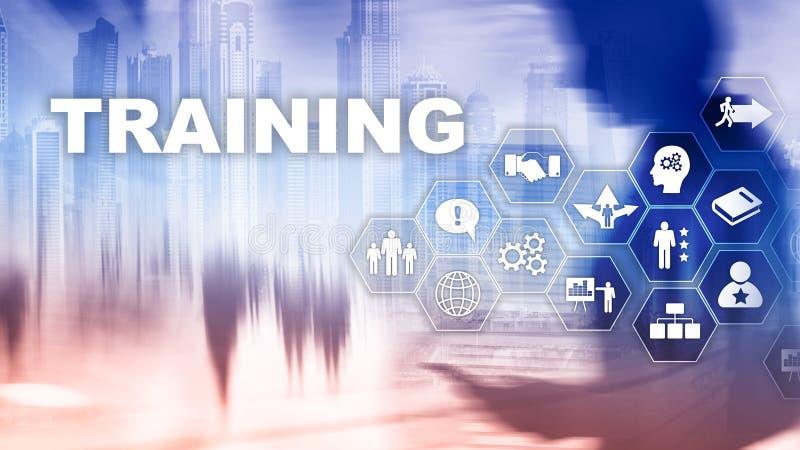 Concetto di addestramento di affari E-learning di formazione di Webinar Concetto finanziario di comunicazione e di tecnologia fotografia stock libera da diritti