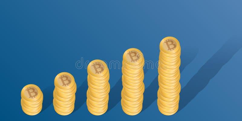 Concetto di affari in Bitcoin, con le pile di monete che mostrano i profitti aumentati illustrazione vettoriale