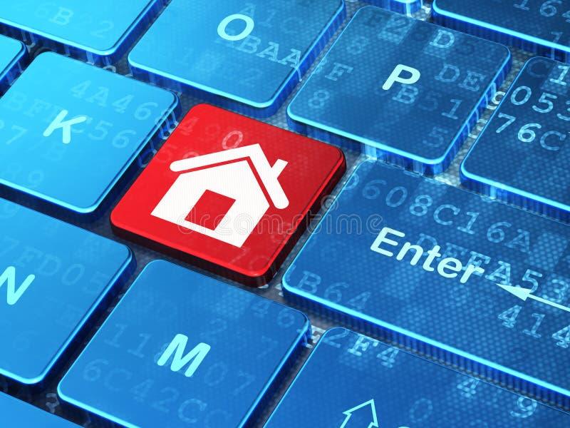 Concetto di affari: Casa sulla tastiera di computer illustrazione vettoriale