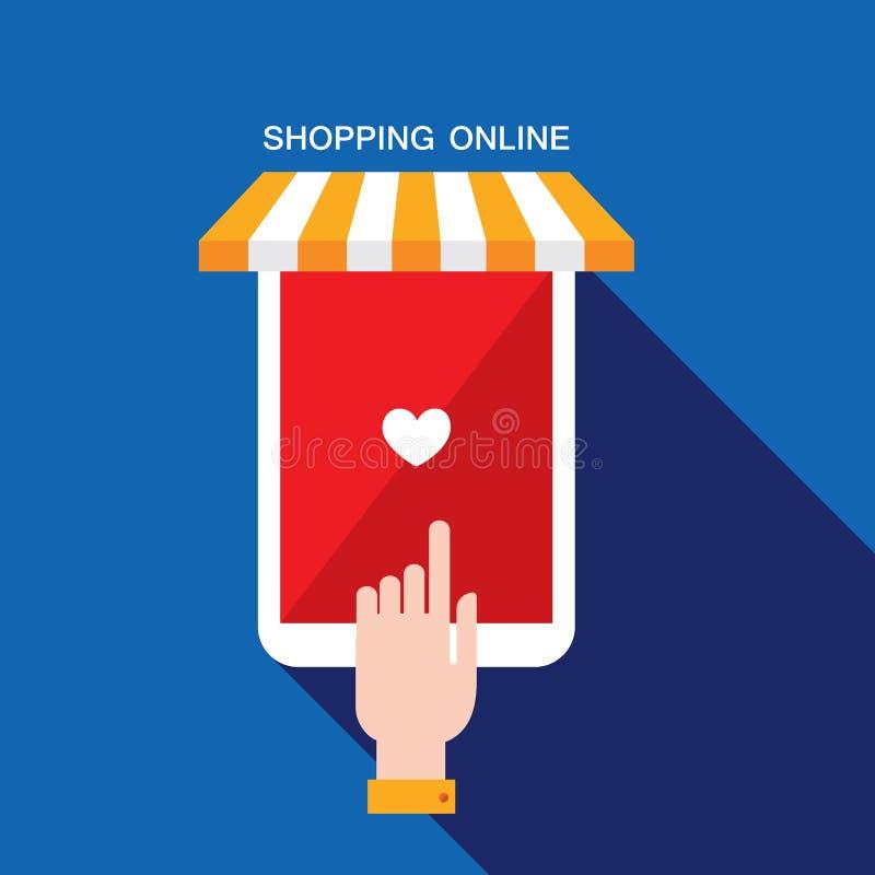 Concetto di affari di commercio elettronico Deposito online, acquisto, vendita, prodotti dell'affare illustrazione di stock