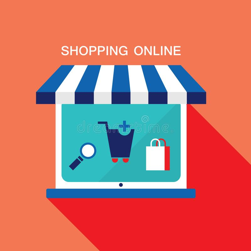 Concetto di affari di commercio elettronico Deposito online, acquisto, vendita, prodotti dell'affare royalty illustrazione gratis