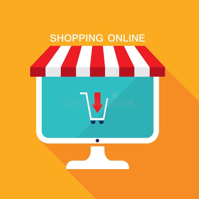 Concetto di affari di commercio elettronico Deposito online, vendita, prodotti dell'affare royalty illustrazione gratis