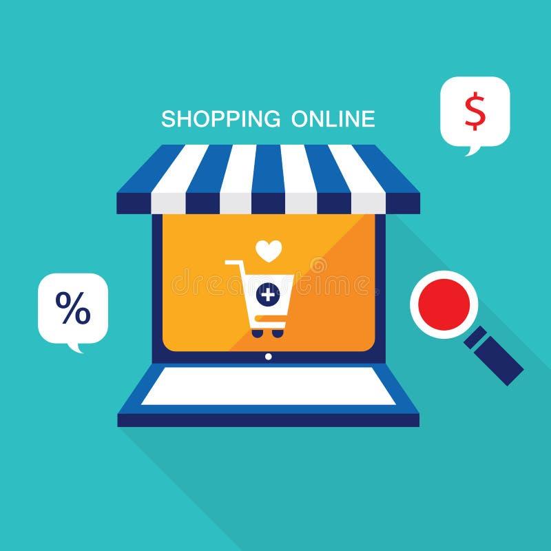 Concetto di affari di commercio elettronico Prodotti online del deposito, di acquisto, di vendita e dell'affare illustrazione vettoriale