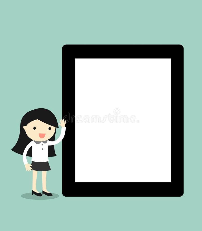 Concetto di affari, compressa della tenuta della donna di affari del fumetto con lo schermo in bianco Illustrazione di vettore illustrazione di stock