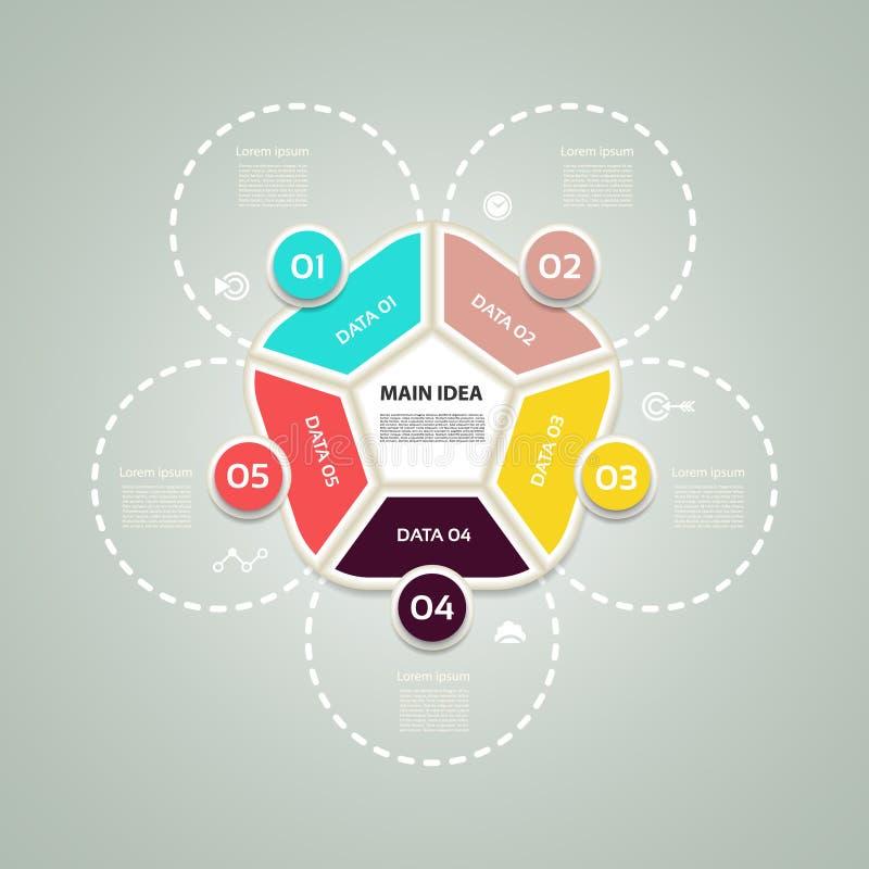 Concetto di affari con 5 opzioni, parti, punti o processi Modello per il diagramma, il grafico, la presentazione ed il grafico illustrazione vettoriale
