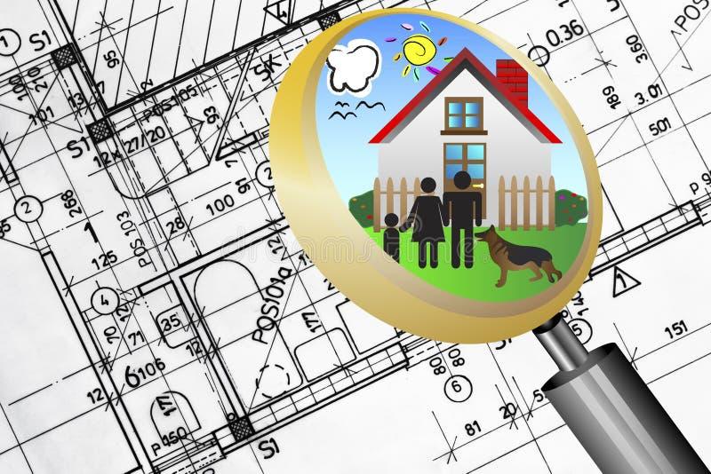 Concetto di affari del bene immobile della cianografia di piano architettonico con la famiglia felice della lente della lente d'in illustrazione di stock