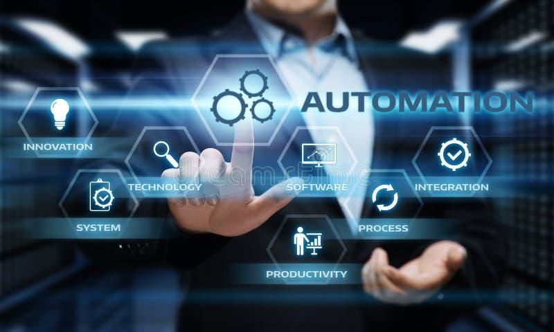 Concetto di affari del sistema di produzione di tecnologia software di automazione fotografie stock libere da diritti