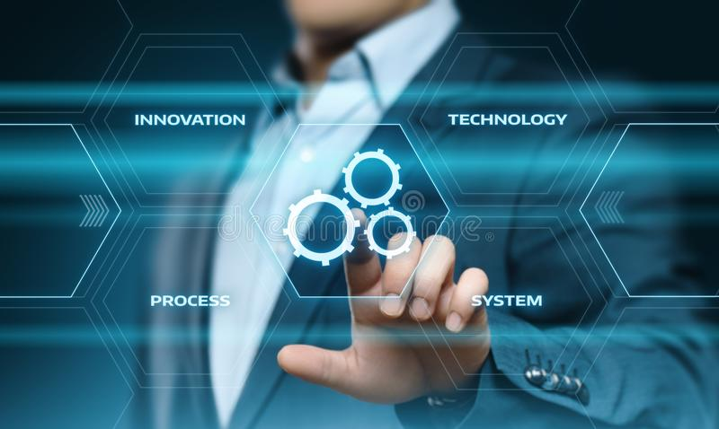 Concetto di affari del sistema di produzione di tecnologia software di automazione immagini stock libere da diritti