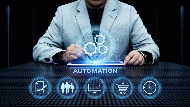 Concetto di affari del sistema di produzione di tecnologia software di automazione immagine stock