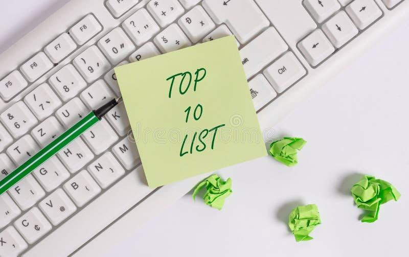 Concetto di affari della lista del principale 10 del testo di scrittura di parola per i dieci più importanti o i riusciti oggetti fotografia stock libera da diritti