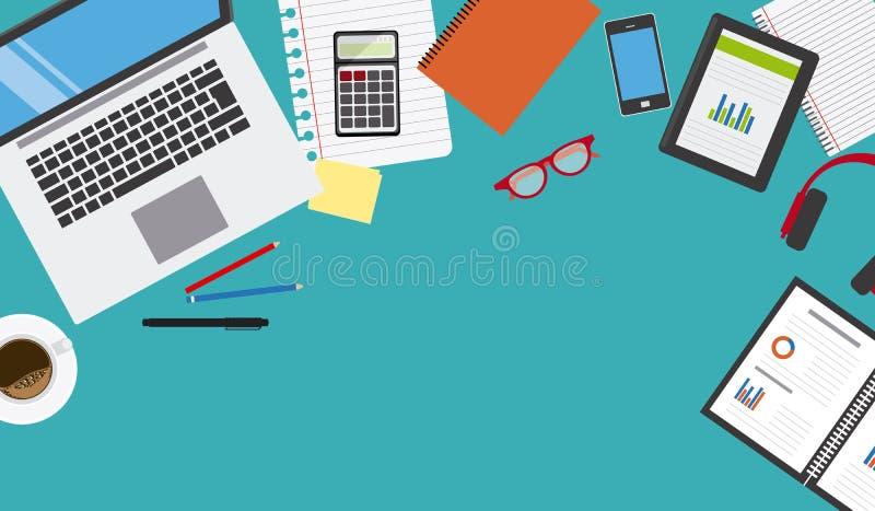 Concetto di affari dello scrittorio del lavoro illustrazione di stock